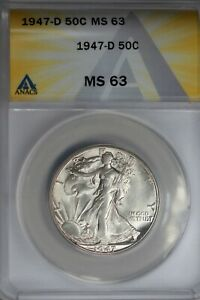 1947-D .50   ANACS   MS 63   Walking Liberty, Half Dollar, Lady Liberty Half