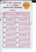 AB-190 Shell Lubrication Calendar Pocket Card 1952 one side 1953 other side