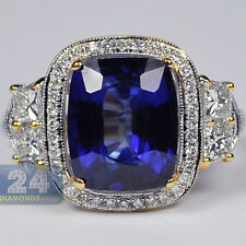 18K Yellow Gold 6.03 ct Blue Sapphire Diamond Gemstone Womens Halo Ring