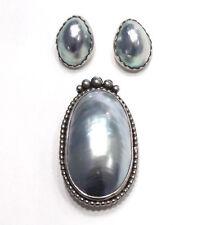 Vintage Sterling Silver & Grey  Pearl Pendant Brooch & Pierced Earrings