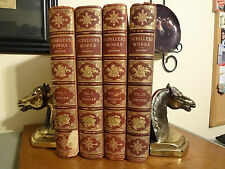 1883 Rare Works Schiller 4 vol set Poems Dramas Leather Antique Book Illustrated
