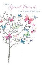 Open Female ~Pretty Special Friend ~Birthday Card ~Modern Butterflies~ Free P&P