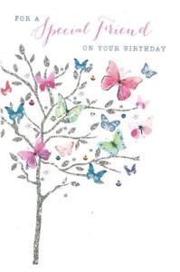 Open Female ~ Pretty Special Friend ~Birthday Card ~Modern Butterflies~ Free P&P