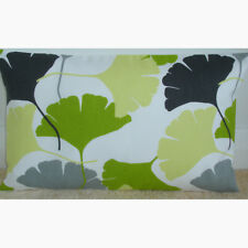 """20""""x12"""" Oblong Coussin Couverture Ginkgo Feuilles Vert Jaune Gris feuilles noires 12x20"""