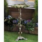 Sparrow on Leaf Verdigris Cast Iron Bird Bath Antique Look for Yard Garden