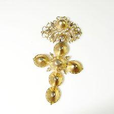 R3415 18K Gold Georgian Rose Diamond Cross Crucifix Pendant 1760s 18th Century