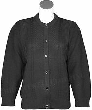 Womens Ladies Crew Neck Cable Knit Button Up Chunky Cable Cardigan UK Size 8-14