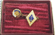 United States Navy USN Hat lapel pin with chain and tarnished 24 K gold plating