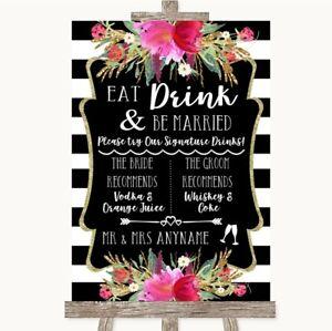 Wedding Sign Poster Print Black & White Stripes Pink Signature Favourite Drinks
