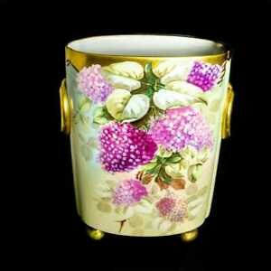 """Large Limoges Hand Painted Lilac Vase Cachepot, Pickard Artist """"Reury"""" Signed"""