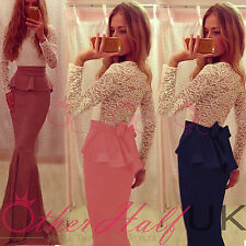 Lace Round Neck Party Long Sleeve Dresses for Women