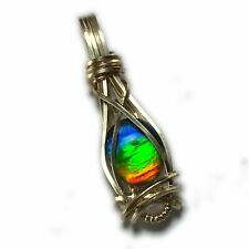 Ammolite Pendant 14k Gold Filled - Rainbow Crystal Top  Jewelry 20g1-5 ZP
