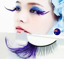 Long Purple Costume Feather Exaggerated Party Fake False Eyelashes Eye lashes