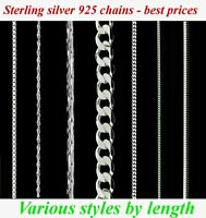 New 925 Sterling silver chains, necklace,many styles and sizes - by length