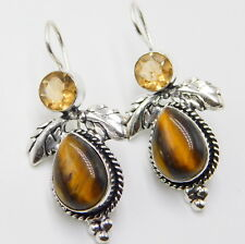 Tiger Eye Citrine 925 Sterling Silver Plated Handmade Jewelry Earring 9 Gm- H52
