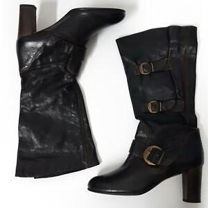Lea Foscati Made In Italy Black Steampunk Buckle Mid Heel Calf Boots Size 5