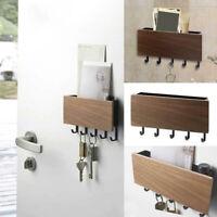 Wall Mounted Wooden Key Letter Holder Storage Box Hanger Shelf Hook Decor