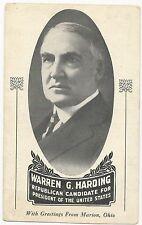1920 Rare Art Deco Warren Harding 4 Prez Campaign Postcard Printed in Hometown