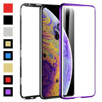 For iPhone XS Max XR X 8 7 6S Plus Case Double Sided Clear Glass Magnetic Cover