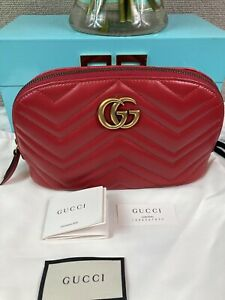 NWOT Brand New Authentic Gucci GG Matelasse Marmont Red Leather Cosmetic Case