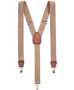 Club Room Men's Suspenders Beige One Size Chevron Woven Stretch $39 #165