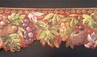 "Fruit Wallpaper Border 8"" X 5 Yard Die Cut Apple Pear Grape Cherry Plum Leaves"