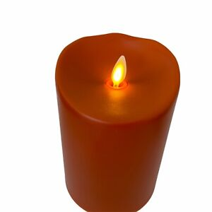 "Luminara 5"" Pillar Candles Set of 2 Tuscan Orange Plastic with 24 Hour Timer"