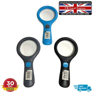 Reading 3 Light Magnifying glass small 2X Magnifier Glass Set Lens Handheld Pack