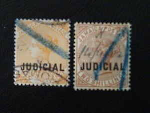 Jamaica Stamps SG 23,25 Wmk Crown CA overprinted Judicial issued 1898 JB 5,7.