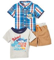 Boys BOYZ WEAR plaid airplane outfit 6 12 months NWT t shirt khaki shorts beach