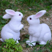 Lifelike Rabbits Sculpture Statue Lawn Ornament Home Office Table Decoration