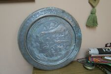 "Vintage Copper Hand Etched  Ghalamzani 19"" Wall Table Tray Charger Birds Vines"