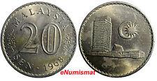 Malaysia Copper-Nickel 1968 20 Sen aUnc Condition Parliament house KM# 4