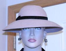 VINTAGE WOMANS LADIES HAT 1960 WIDE BRIM TAUPE w/black velvet band/bow 100% WOOL