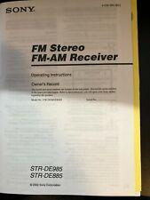 Sony Str-De985 Str-De885 Stereo Receiver Owners Manual / Operating Instructions