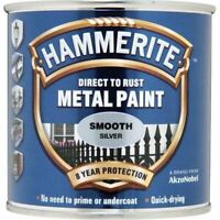 NEW HAMMERITE DIRECT TO RUST METAL PAINT - SMOOTH SILVER - 250ML - 5084894