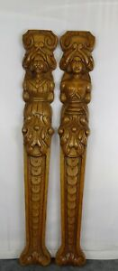 "25.5 "" Two Antique French Carved Oak Wood Trim Pillars Wall Columns  Man & Woman"