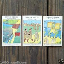 3 Vintage Original Different Private Breger Comical Soldier Ww2 Postcards Nos