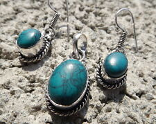 Handmade ethnic silver plated earrings and pendant with turquoise cabochons