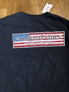 Vineyard Vines Patriot box mens long sleeve t shirt Blue Medium NWT