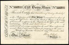 Cliff Down Mines, Ilogan, Cornwall, one share, 1818, EF and rare early date