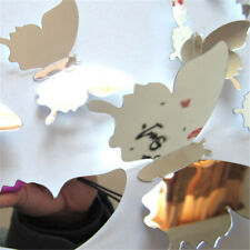 12x/set Mirror Sliver 3D Butterfly Wall Sticker Party Wedding Home Party Decor .