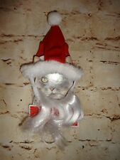 Pet Holiday Christmas Santa Hat & Beard for Kitty Cat Costume One Size NEW 2 PC
