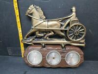 Vintage Indoor Plastic barometer thermometer Weather station horse & buggy