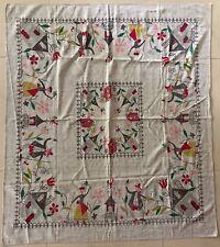 Vintage 50s 60s Cloth Textile Tablecloth Farmers Retro Mid Century Modern