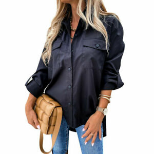 Women Baggy Shirt Button Up Long Sleeve Ladies Casual Loose Plain Blouse Tops