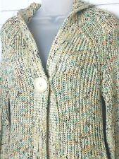 BCBG MAXAZRIA Women's Sweater Med Button Front Cardigan Sweater Hooded Tan Multi