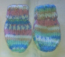 Hand Knitted Soft Baby Girl Mittens 0-6 Months ~ Light Pastel