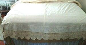 Shabby Chic Queen Crocheted Pleated Scalloped Boxy Ivory 100% Cotton Bed Skirt