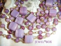 ART DECO VENETIAN MURANO LILAC CUBE BEADS Long Flapper Wired Vintage NECKLACE
